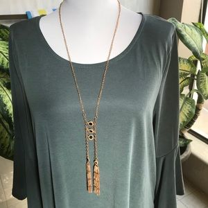 Copper gold tone necklace with black accents